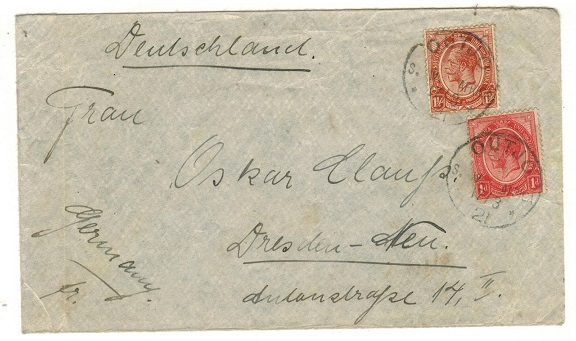 SOUTH WEST AFRICA - 1921 cover to Germany with South African adhesives used at OUTJO.