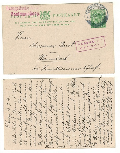 SOUTH WEST AFRICA - 1913 1/2d green PSC of South Africa used at KEETMANSHOOP and PASSED BY CENSOR.