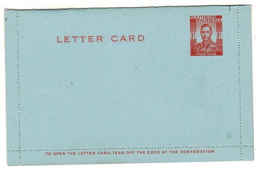 SOUTHERN RHODESIA - 1937 1d Red on blue postal stationery letter card unused.  H&G 3.