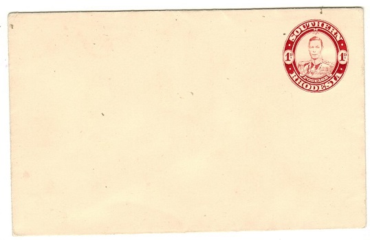 SOUTHERN RHODESIA - 1937 1d  Red on cream postal stationery envelope unused.  H&G 5.