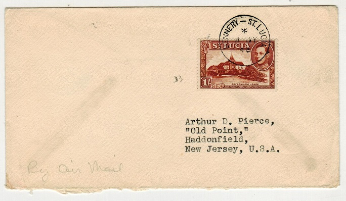ST.LUCIA - 1946 1/- rate cover to USA used at DENNERY.