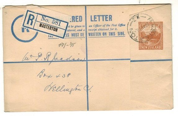 NEW ZEALAND - 1936 4d brown RPSE used locally from MASTERTON.