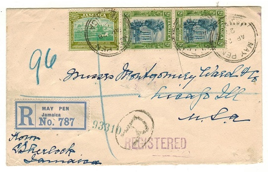 JAMAICA - 1927 4 1/2d rate registered cover to USA used at MAY PEN/JAMAICA.
