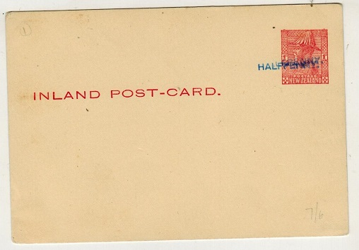 NEW ZEALAND - 1932 1/2d on 1d carmine PSC unused with SURCHARGE DOUBLE.  H&G 34a.