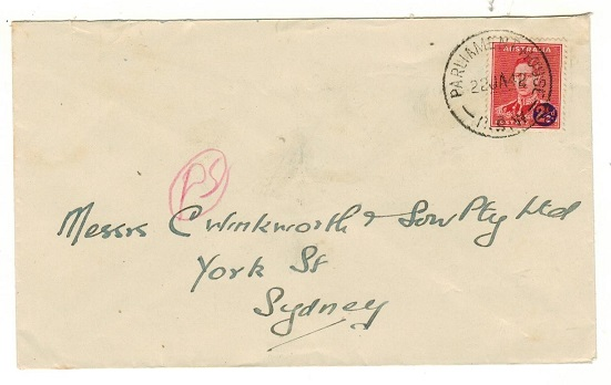 AUSTRALIA - 1942 2 1/2d on 2d surcharged local cover used at PARLIAMENT HOUSE.