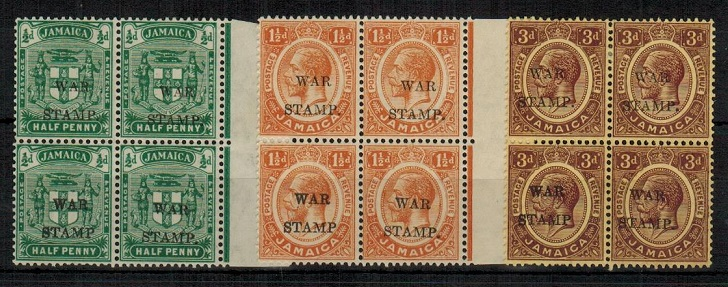 JAMAICA - 1917 1/2d, 1  1/2d and 3d mint blocks of four with NO STOP AFTER P.  SG 73-75a.