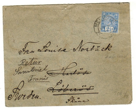 ZULULAND - 1901 cover to Sweden (scarce) with Natal 2 1/2d used at MELMOUTH/ZULULAND.