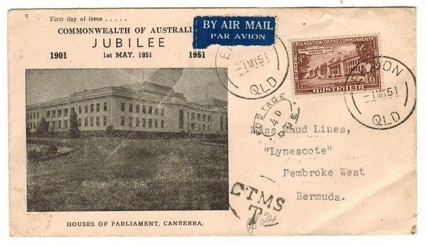 BERMUDA - 1951 inward underpaid cover from Australia with oval POSTAGE/4d/DUE h/s applied.