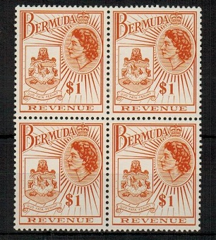 BERMUDA - 1970 $1 orange-brown REVENUE unmounted mint block of four.