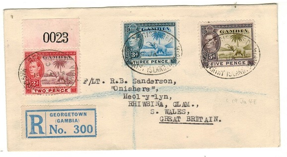 GAMBIA - 1948 10d rate registered cover to UK used at Mac CARTHY ISLAND.