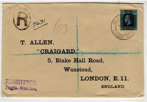 CAYMAN ISLANDS - 1936 2/- rate registered cover to UK used at GEORGETOWN.