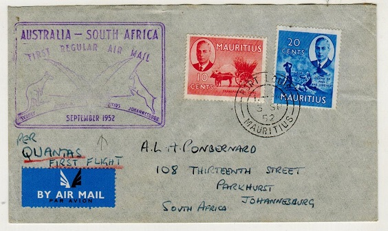 MAURITIUS - 1952 first flight cover to South Africa.
