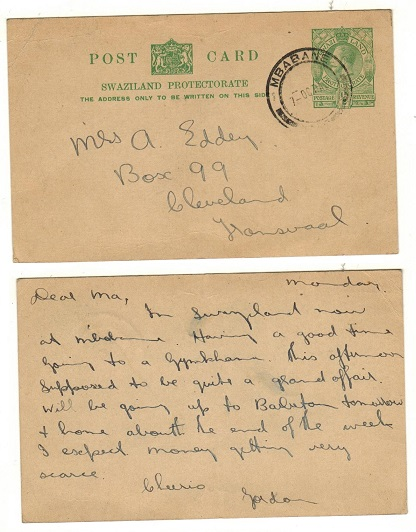 SWAZILAND - 1935 1/2d green PSC to Johannesburg used at MBABANE.  H&G 2.