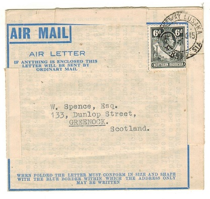 NORTHERN RHODESIA - 1945 6d rate use of FORMULA air letter to UK used at CAUSEWAY LUSAKA.