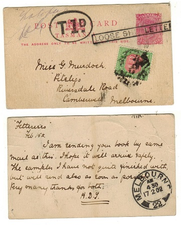 AUSTRALIA (Tasmania) - 1895 1d pink PSC underpaid to Melbourne struck LOOSE SHIP LETTER.  h&g 7A.