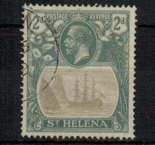 ST.HELENA - 1923 2d grey and slate fine used with CLEFT ROCK variety.  SG 100c.