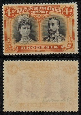 RHODESIA - 1910-13 4d brown-purple and orange fine mint with GASH IN EAR variety.  SG 139.