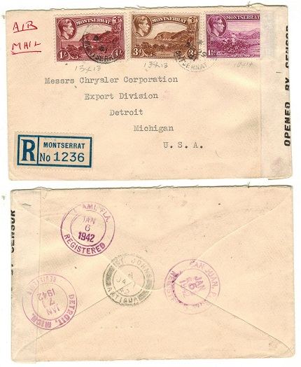 MONTSERRAT - 1941 1/ 4 1/2d registered cover to USA with scarce OPENED BY CENSOR label applied.
