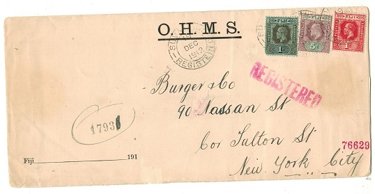 FIJI - 1912 1/6d registered (mixed reign franking) cover to USA used at SUVA/FIJI.