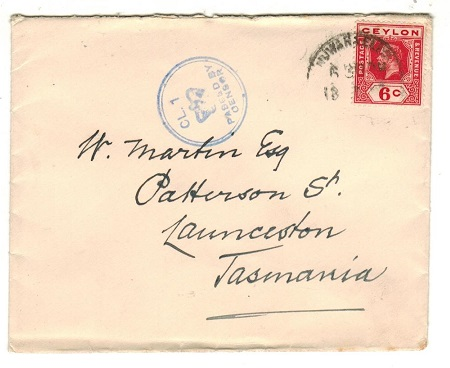 AUSTRALIA - 1916 (circa) inward cover from Ceylon with crowned CL.1 censor h/s applied in Tasmania.