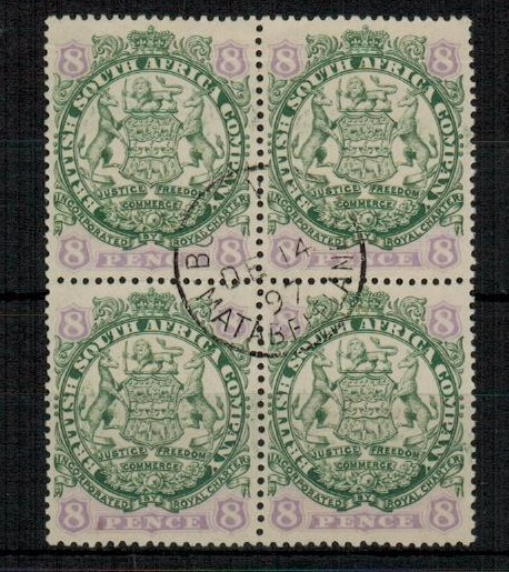 RHODESIA - 1896 8d green and mauve block of four used at BULAWAYO/MATABELAND.  SG 34.