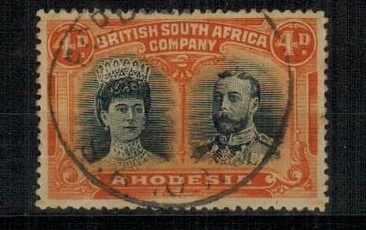 RHODESIA - 1910 4d black and orange