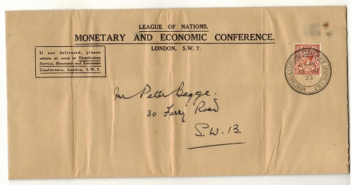 GREAT BRITAIN - 1933 local cover with 1 1/2d tied