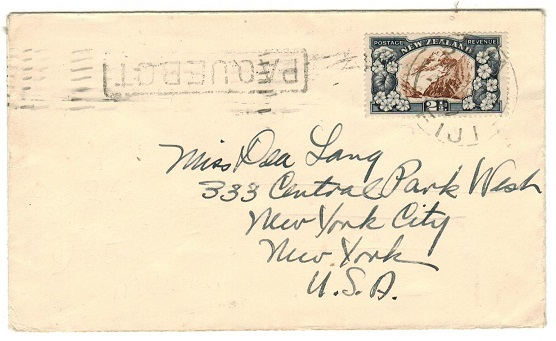 FIJI - 1939 2 1/2d rate PAQUEBOT cover to USA with New Zealand adhesive used at SUVA.