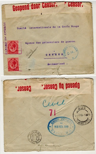 SOUTH WEST AFRICA - 1916 2d rate censored cover to Switzerland used at AUS with red boxed cancel.