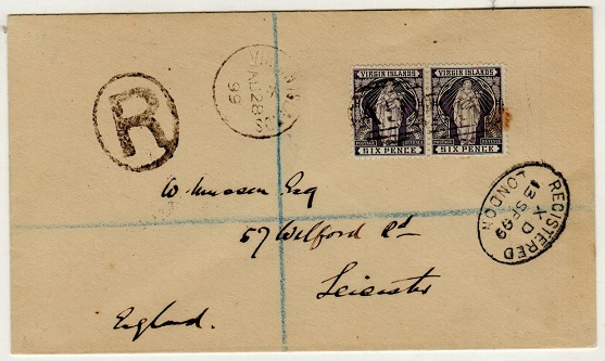 BRITISH VIRGIN ISLANDS - 1899 1/- rate registered cover to UK.