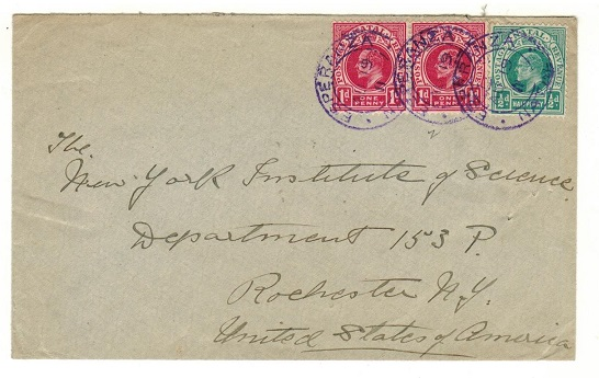 NATAL - 1911 2 1/2d rate cover to USA used at ESPERANZA in