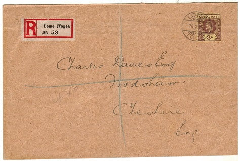 TOGO - 1915 3d rate (un-overprinted) registered cover to UK used at LOME/TOGO.