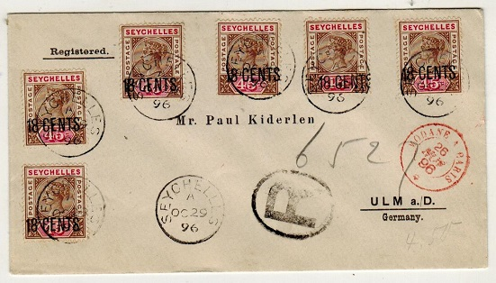 SEYCHELLES - 1896 18c on 45c (x6) surcharged registered cover to Germany.