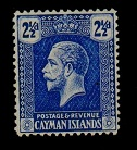 CAYMAN ISLANDS - 1922 2 1/2d bright blue. Fine mint with REVERSED WATERMARK.  SG 74x.