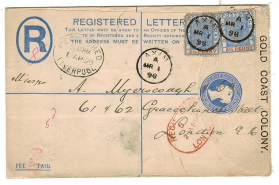 GOLD COAST - 1892 2d blue RPSE uprated to UK used at AXIM.  H&G 3a.