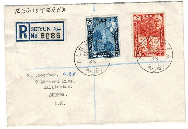 ADEN (States) - 1963 registered cover to UK used at ALGHURFA.