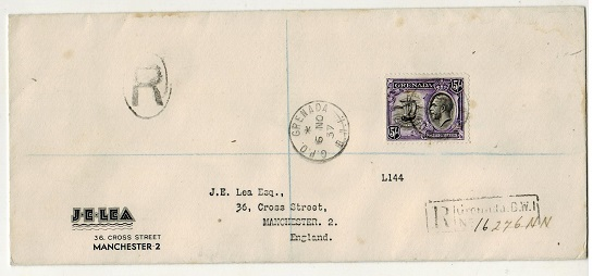 GRENADA - 1937 5/- rate registered cover to UK.