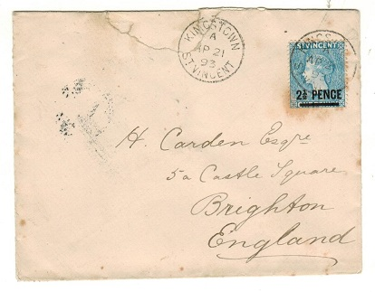 ST.VINCENT - 1893 2 1/2d on 1d blue surcharged cover to UK.