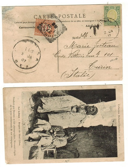 K.U.T. - 1907 underpaid postcard to Italy used at LIMURU with Italian