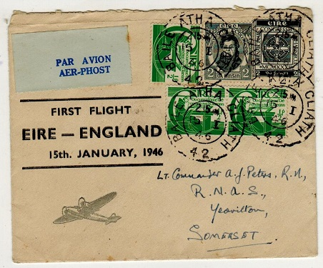 IRELAND - 1946 illustrated first flight cover to UK.