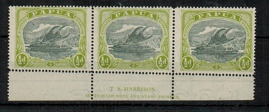 PAPUA - 1919 1/2d myrtle and apple green mint T.S.HARRISON imprint strip of three.  SG 93.