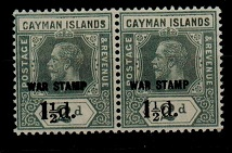 CAYMAN ISLANDS - 1920 1 1/2d on 2d grey mint pair with MISSING SERIF variety.  SG 58.