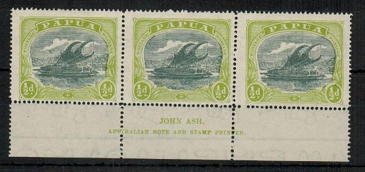 PAPUA - 1919 1/2d myrtle and apple green mint JOHN ASH imprint strip of three.  SG 93.