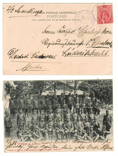 SOUTHERN NIGERIA - 1908 1d rate postcard use to German SWA used at CALABAR with