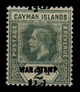 CAYMAN ISLANDS - 1920 1 1/2d on 2d grey mint with MISPLACED SURCHARGE.  SG 58.