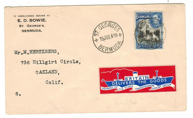 BERMUDA - 1941 3d rate cover to USA with scarce BRITAIN DELIVERS THE GOODS patriotic label.