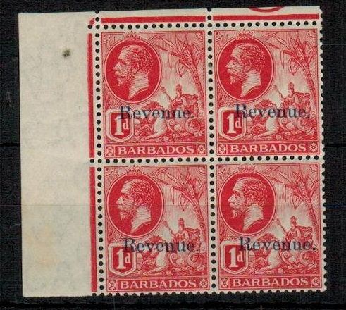 BARBADOS - 1916 1d red mint REVENUE block of four.