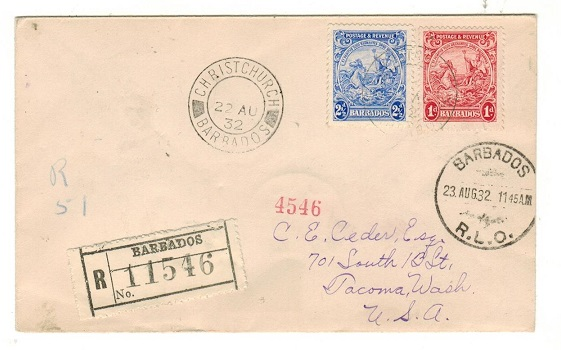 BARBADOS - 1932 3 1/2d rate registered cover to USA used at CHRISTCHURCH.