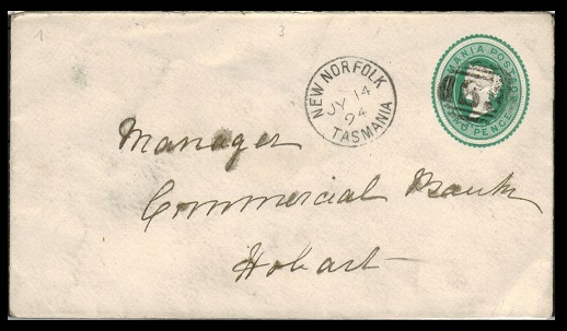 AUSTRALIA (Tasmania) - 1883 2d green PSE used locally at NEW NORFOLK/TASMANIA.  H&G 1.