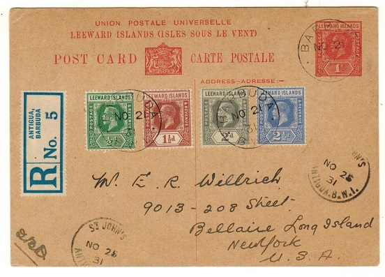 BARBUDA - 1928 1d red PSC of Leeward Islands (H&G 7) uprated to USA and registered.
